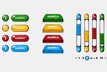 Hand Drawn Colorful Web Buttons PSD File