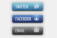 Twitter &#8211; Facebook &#8211; eMail PSD Icons