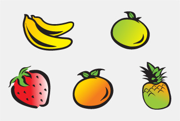 PSD Cartoons Fruits