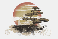 Bonsai Tree/ Large Sun PSD