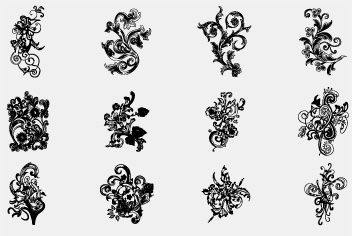 PSD Hand Drawn Floral Elements