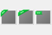 Green Corner Ribbons Photoshop File