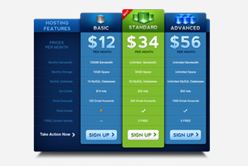 Pricing Tables/Pricing Plans Photoshop File