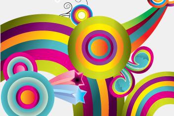 Colrful Retro Background Circles PSD