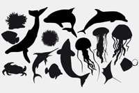 Silhouettes of Ocean Animals PSD